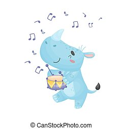 Cartoon rhino with a drum. Vector illustration on a white background.