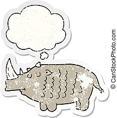 cartoon rhinoceros and thought bubble as a distressed worn sticker