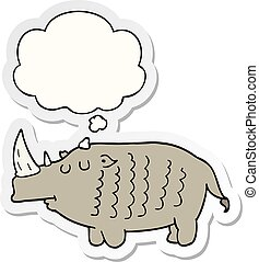 cartoon rhinoceros and thought bubble as a printed sticker