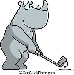 A cartoon illustration of a rhino playing golf.