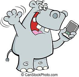 Cartoon rhinoceros holding a cell phone.
