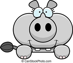 Cartoon Rhinoceros Peeking - A cartoon illustration of a...