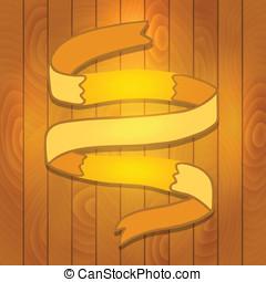 Cartoon Ribbon on wood background