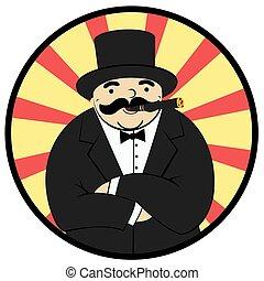 rich man - cartoon rich man smoking a cigar - Illustration