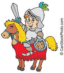 cartoon, ridder, siddende, på, hest