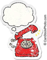 cartoon ringing telephone and thought bubble as a distressed worn sticker