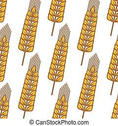 Cartoon ripe cereal ears seamless pattern