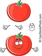 Cartoon ripe juicy red tomato vegetable