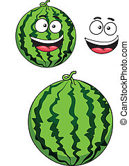 Ripe watermelon fruit in cartoon style with funny smile isolated on white background