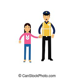 Cartoon road policeman in reflective waistcoat workwear and school girl holding hands