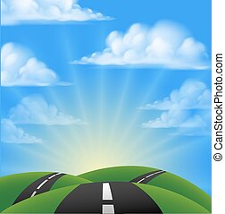 Cartoon Road Scene - Cartoon road going over hills into the ...