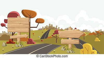 Cartoon road with wooden sign