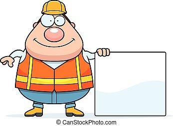 Cartoon Road Worker Sign