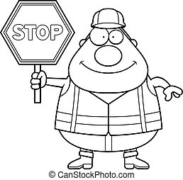 Cartoon Road Worker Stop Sign
