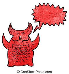 cartoon roaring demon