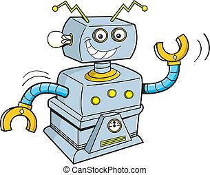 Cartoon robot - Cartoon illustration of a smiling robot.