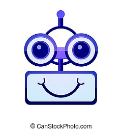 Cartoon Robot Face Smiling Cute Emotion Chat Bot Icon Flat...