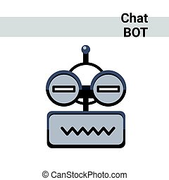 Cartoon Robot Face Smiling Cute Emotion Neutral Chat Bot Icon