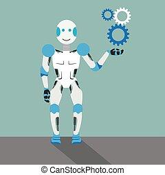 Cartoon Robot Gears