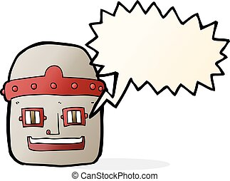 cartoon robot head with speech bubble