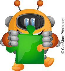 Cartoon robot holding a piece of the jigsaw puzzle illustration vector on white background