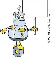 Cartoon robot holding a sign.