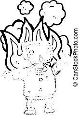 cartoon robot on fire
