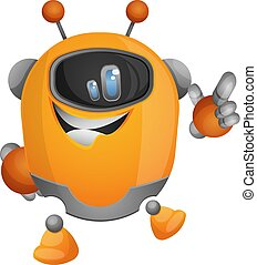 Cartoon robot pointing with a finger illustration vector on white background
