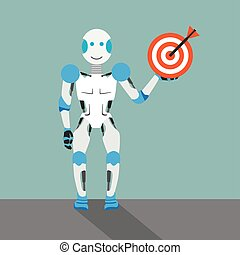 Robot cartoon with target on the gray background.