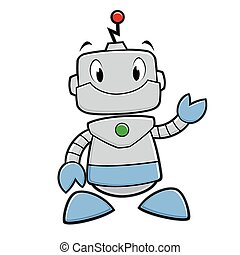 Cartoon Robot - Vector illustration of a smiling funny robot