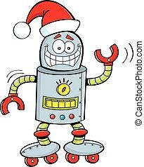 Cartoon Robot Wearing a Santa Hat - Cartoon illustration of...