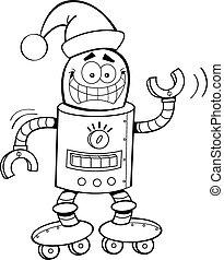 Cartoon Robot Wearing a Santa Hat (