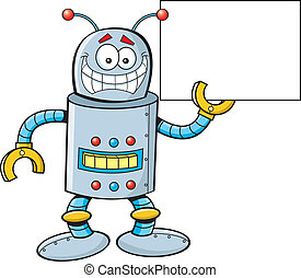 Cartoon Robot with a Sign - Cartoon illustration of a robot...