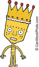 cartoon robot with crown