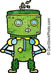 cartoon robot with hands on hips