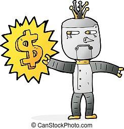 cartoon robot with money symbol