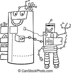 cartoon robots fantasy characters color book