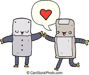 cartoon robots in love and speech bubble