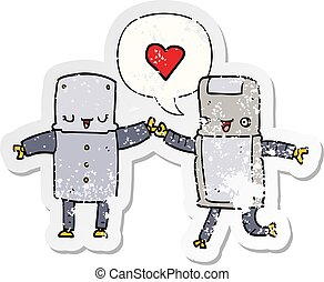 cartoon robots in love and speech bubble distressed sticker