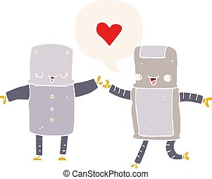 cartoon robots in love and speech bubble in retro style