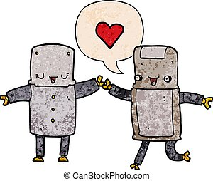cartoon robots in love and speech bubble in retro texture style