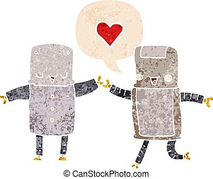 cartoon robots in love and speech bubble in retro textured style