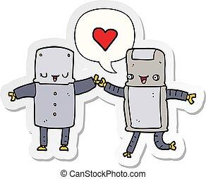 cartoon robots in love and speech bubble sticker