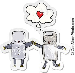 cartoon robots in love and thought bubble as a distressed worn sticker