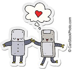 cartoon robots in love and thought bubble as a printed sticker
