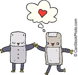 cartoon robots in love and thought bubble
