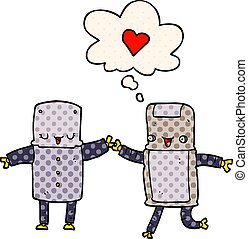 cartoon robots in love and thought bubble in comic book style