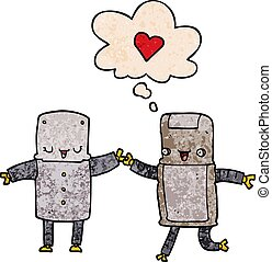 cartoon robots in love and thought bubble in grunge texture pattern style