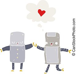 cartoon robots in love and thought bubble in retro style