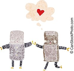 cartoon robots in love and thought bubble in retro textured style